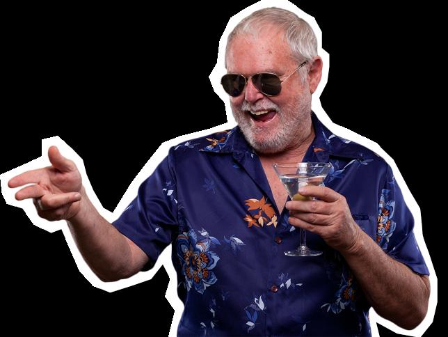 Mosolygó ember itallal a kezében